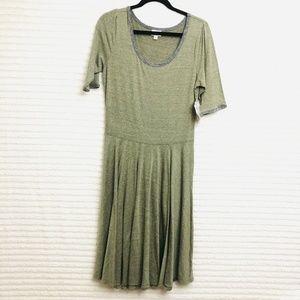 LuLaRoe Nicole Womens XL Heather Green Gray Dress